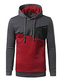 cheap Men's Tees & Tank Tops-Men's Long Sleeve Hoodie - Color Block, Patchwork Hooded