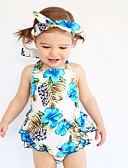 cheap Baby Girls' One-Piece-Baby Girls' One-Pieces, Cotton Summer Floral Sleeveless Light Blue