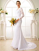 cheap Wedding Dresses-Mermaid / Trumpet V Neck Court Train Chiffon / Floral Lace Made-To-Measure Wedding Dresses with Appliques / Sash / Ribbon by LAN TING BRIDE® / Illusion Sleeve / See-Through / Beautiful Back