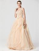 cheap Prom Dresses-Ball Gown V-neck Sweep / Brush Train Organza Formal Evening Dress with Beading Cascading Ruffles by TS Couture®