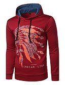 cheap Men's Tees & Tank Tops-Men's Long Sleeves Hoodie Print Hooded