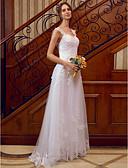 olcso Menyasszonyi ruhák-A-vonalú Szíj Földig érő Csipke tüllön Made-to-measure esküvői ruhák val vel Rátétek / Csipke által LAN TING BRIDE® / Átlátszó