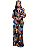 cheap Women's Jumpsuits & Rompers-Women's Wide Leg Going out Boho V Neck Blue Wide Leg Jumpsuit, Geometric Print L XL XXL High Rise Long Sleeve Spring Fall