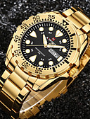 cheap Steel Band Watches-Men's Wrist Watch Stainless Steel Black / Gold Water Resistant / Waterproof Calendar / date / day Creative Analog Charm Luxury Casual Elegant - White Black / Gold Red Two Years Battery Life