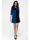 preiswerte Kleider in Übergröße-Damen Übergrössen Lose Kleid Einfarbig Übers Knie V-Ausschnitt Hohe Hüfthöhe