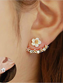 cheap Women's Sweaters-Women's Crystal Stud Earrings / Front Back Earrings / Ear Jacket - Sterling Silver, Crystal, S925 Sterling Silver Flower, Daisy Elegant Gold / Silver / Rose Gold For Christmas / Wedding / Party