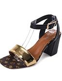 cheap Women's Leather Jackets-Women's Shoes PU(Polyurethane) Summer Comfort Sandals Block Heel Open Toe Buckle Black / Dark Brown / Block Heel Sandals