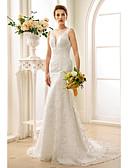 cheap Wedding Dresses-Mermaid / Trumpet Plunging Neck Court Train Lace Made-To-Measure Wedding Dresses with Appliques / Buttons by LAN TING BRIDE®