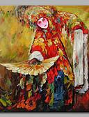 olcso Férfi pólók és atléták-Hang festett olajfestmény Kézzel festett - Emberek Művészi Kínai stílus Vászon