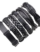 cheap Men's Swimwear-Men's Layered / Braided Leather Bracelet - Leather Punk, Rock Bracelet Black For Stage / Going out