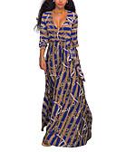 baratos Vestidos Longos-Mulheres Festa / Para Noite / Bandagem Vintage / Moda de Rua Bainha / balanço Vestido - Estampado, Listrado Decote V Longo / Solto