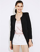 cheap Women's Blazers-Women's Daily Going out Cute Spring Summer Long Blazer, Solid Round Neck Nylon