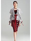 baratos Vestidos Femininos-Mulheres Camiseta Geométrica Estampa Colorida Decote V