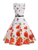 cheap Vintage Dresses-Women's Holiday / Work Vintage Cotton Sheath / Swing Dress - Floral Butterfly, Print