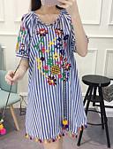 abordables Ropa de Cama de Mujer-Mujer Básico Corte Ancho Vestido - Estampado, A Rayas Bordado Hasta la Rodilla