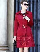 cheap Women's Dresses-YENMEINAR Women's Coat - Solid, Print Shirt Collar