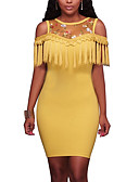 cheap Women's Dresses-Women's Vintage Street chic Bodycon Dress - Patchwork Embroidered, Mesh Tassel