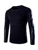 preiswerte Herren Pullover-Herrn Solide T-shirt, Rundhalsausschnitt / Langarm