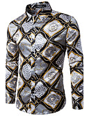 cheap Men's Shirts-Men's Party / Club Slim Shirt - Geometric Print / Long Sleeve