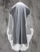 cheap Wedding Veils-One-tier Lace Applique Edge Wedding Veil Elbow Veils Fingertip Veils 53 Appliques Lace Tulle