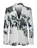 זול חולצות לגברים-דש קלאסי רזה סגנון רחוב פאנק & גותיות מידות גדולות בלייזר-בגדי ריקוד גברים,גדול דפוס / שרוול ארוך