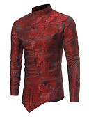 cheap Men's Tees & Tank Tops-Men's Slim Shirt - Solid Colored Jacquard Standing Collar / Long Sleeve