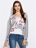 baratos Camisetas Femininas-Mulheres Manga Longa Algodão Longo Carregam - Sólido / Floral Algodão / Colarinho Chinês / Outono