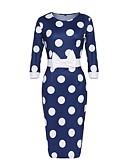 ieftine Dresses For Date-Pentru femei Mărime Plus Size Vintage Teacă Rochie - Funde, Buline Talie Inaltă Lungime Genunchi Albastru