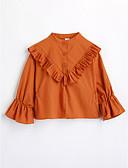 cheap Boys' Clothing-Girls' Solid Tee, Cotton Fall Long Sleeves Orange