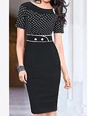 baratos Vestidos para as Mães dos Noivos-Mulheres Trabalho Moda de Rua Algodão Bainha Vestido Poá Cintura Alta Altura dos Joelhos Preto