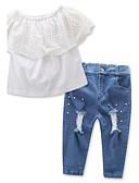 olcso Női nadrágok és szoknyák-Pamut Poliészter Egyszínű Tavasz Nyár Rövid ujjú Lány Ruházat szett Elegáns ruházat Csipke Fehér