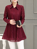 cheap Women's Blouses-Women's Going out Blouse - Solid Colored / Houndstooth Lace Shirt Collar