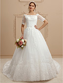cheap Wedding Dresses-A-Line Bateau Neck Cathedral Train Lace / Tulle Made-To-Measure Wedding Dresses with Lace by LAN TING BRIDE®