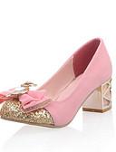 preiswerte Abendkleider-Damen Schuhe Vlies Herbst Komfort / Neuheit High Heels Blockabsatz Runde Zehe Schleife Schwarz / Dunkelblau / Rosa / Hochzeit / Kleid