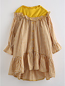 cheap Girls' Clothing-Girl's Plaid Dress, Cotton Fall 3/4 Length Sleeves Check Camel