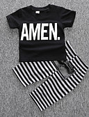 cheap Women's Sexy Clothing-Boys' Stripe Clothing Set, Cotton Spring Summer Short Sleeves Stripes Black