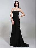 cheap Evening Dresses-Mermaid / Trumpet Strapless Sweep / Brush Train Chiffon Open Back / Celebrity Style Formal Evening Dress with Criss Cross by TS Couture®