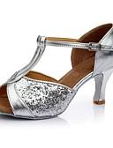 baratos Biquínis e Roupas de Banho Femininas-Mulheres Sapatos de Dança Latina Paetês / Sintético Salto Lantejoulas Salto Alto Personalizável Sapatos de Dança Prata / Fúcsia / Marron