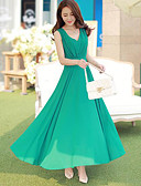 hesapli Maksi Elbiseler-Kadın's Kılıf Elbise - Solid V Yaka Maksi Yüksek Bel