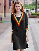 abordables Vestidos de Mujeres-Mujer Noche Chic de Calle / Sofisticado Línea A / Vaina / Punto Vestido Bloques Sobre la rodilla Escote en Pico