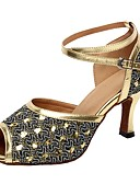 cheap Gloves-Women's Latin Shoes Sparkling Glitter Sandal Customized Heel Dance Shoes Gold / Silver / Indoor