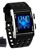 ราคาถูก สมาร์ตอุปกรณ์และสายรัดข้อมือ-สำหรับผู้ชาย นาฬิกาแฟชั่น ดูสมาร์ท นาฬิกาดิจิตอล นาฬิกาอิเล็กทรอนิกส์ (Quartz) ยางทำจากซิลิคอน ยาง ดำ กันน้ำ ปฏิทิน โครโนกราฟ ดิจิตอล ไม่เป็นทางการ - สีดำ / สแตนเลส