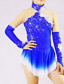 cheap Ice Skating Dresses , Pants & Jackets-Women's Ice Skating Skirt / Dress Aquamarine Flower Spandex High Elasticity Competition Skating Wear Solid Colored Long Sleeve Ice Skating / Skating / Ice Skate