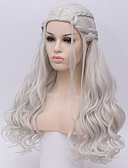 cheap Historical & Vintage Costumes-Synthetic Wig / Cosplay Wig Deep Wave Kardashian Style Capless Wig White Silver Synthetic Hair Women's White Wig Long