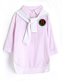 cheap Girls' Clothing-Girls' Stripe Shirt, Cotton Fall Long Sleeves Blushing Pink
