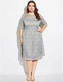 お買い得  レディースドレス-女性用 プラスサイズ ストリートファッション シース ドレス - レース プリント 膝丈