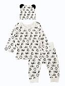 baratos Conjuntos para Bebês-bebê Para Meninos Estampa Animal Diário / Interior / Casual Animal Manga Longa Padrão Padrão Algodão Conjunto Branco 100 / Bébé