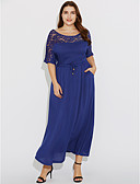 tanie Sukienki-Damskie Wyjściowe Casual / Boho / Moda miejska Bawełna Zmiana Sukienka - Solidne kolory Maxi / Asymetryczna