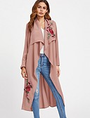 cheap Women's Coats & Trench Coats-Women's Basic Loose Trench Coat-Solid Colored,Embroidered