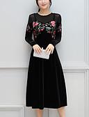 tanie Swetry damskie-Damskie Wyjściowe Wyrafinowany styl Pochwa Sukienka - Haft Midi Czarny